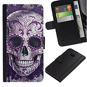 iBinBang / Flip Funda de Cuero Case Cover - Cráneo floral Bling Death Metal - HTC One M8