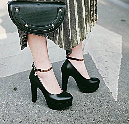 Mee Shoes Damen High Heels Ankle Strap Plateau Pumps Schwarz