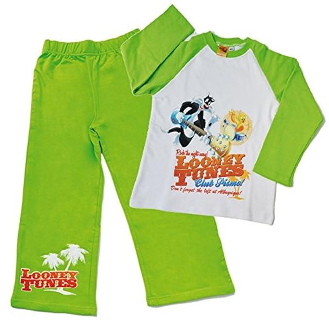 Pijamas Bimbo de Looney Tunes (7/8 años, verde blanco)