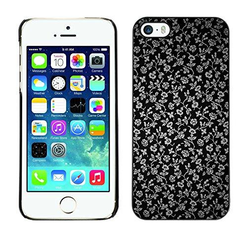 TaiTech / Case Cover Housse Coque étui - Flowers Grey Wallpaper Black Garden - Apple iPhone 5 / 5S