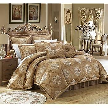 Chic Home 9 Piece Aubrey Decorator Upholstery Quality Jacquard Scroll  Fabric Bedroom Comforter Set U0026 Pillows