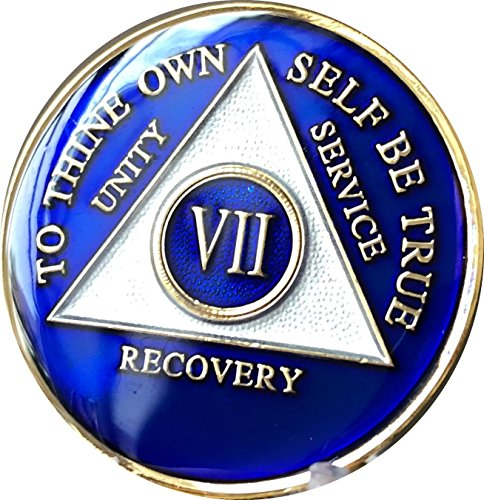Recovery Mint 7 Year Blue Tri-Plate Alcoholics Anonymous Medallion- AA Sobriety Chip