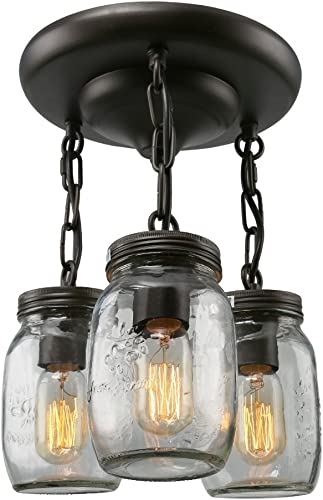 Bagood Glass Pendant Light 3 Mason Jar Semi Flush Mount Close to Ceiling Light fixtures, Brown
