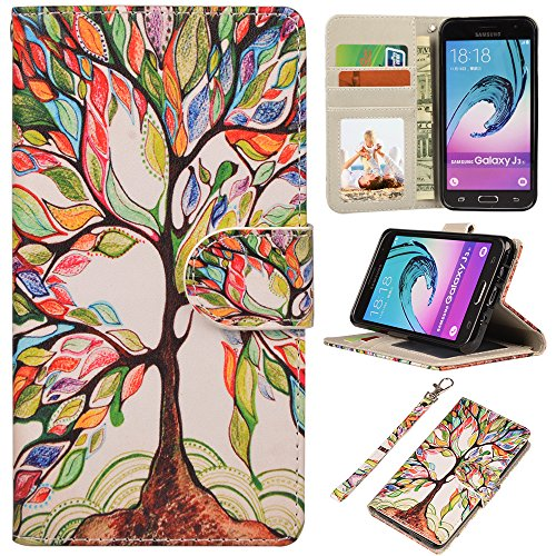 UrSpeedtekLive J3 2016 Case, Galaxy J3 V, Express Prime Case, Premium PU Leather Flip Wallet Case Cover with Card Slots & Stand for Samsung Galaxy J3 (2016) / Amp Prime, Tree