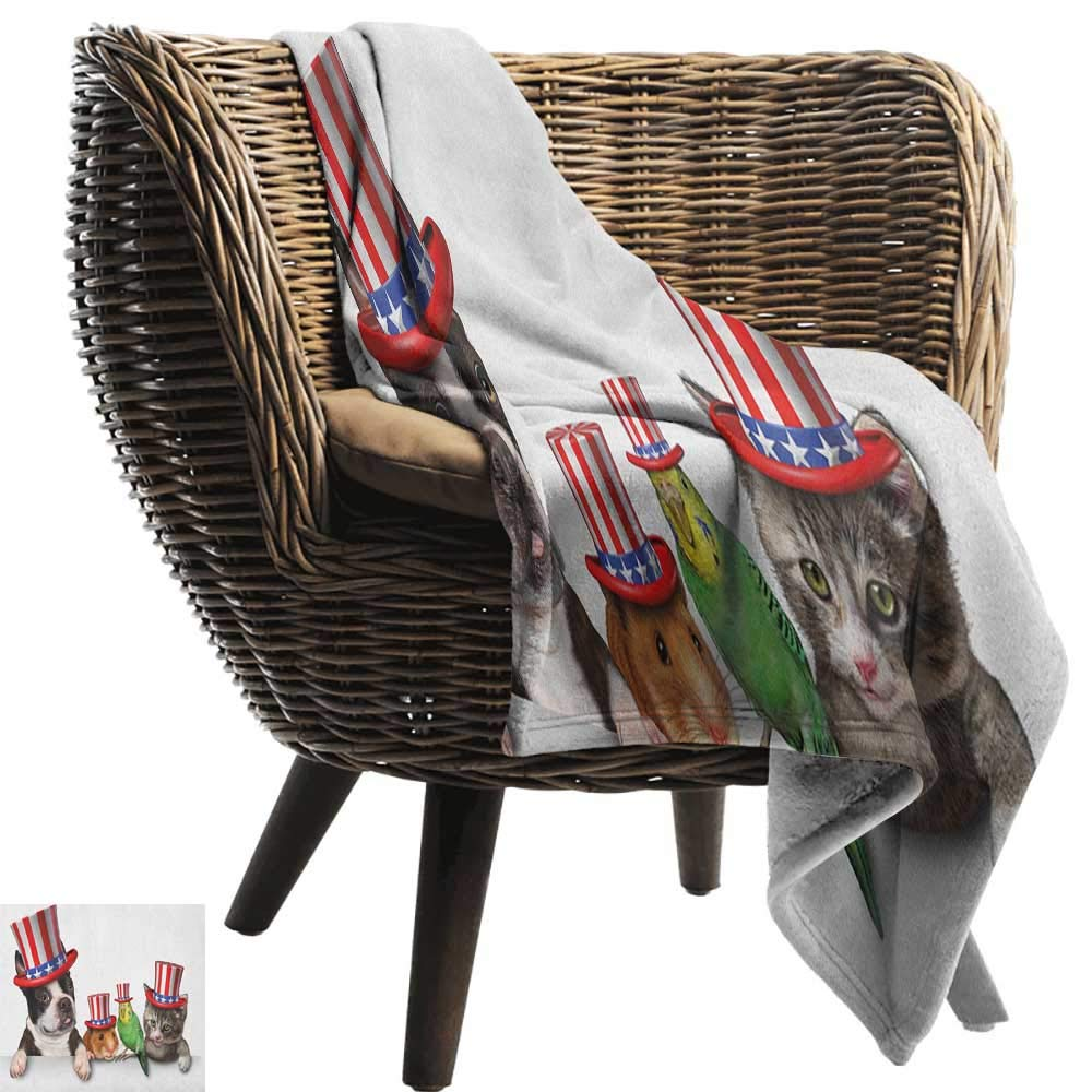 toddler blanket 50''x70'' Inch Fourth of July,Cute Pet Animal Dog Cat Bird and Hamster with American Hat Celebration Image Multicolor all seasons Anti-Static Couch Blanket Travelling Camping Blanket by ZSUO (Image #1)