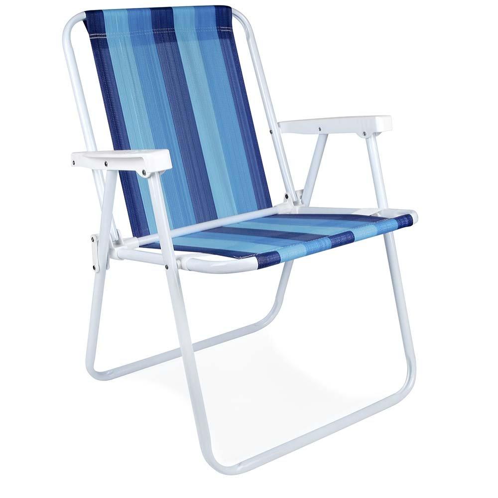 MOR Steel Beach Chair - 1 Position - (Pack of 1) (Blue Variation Stripe)