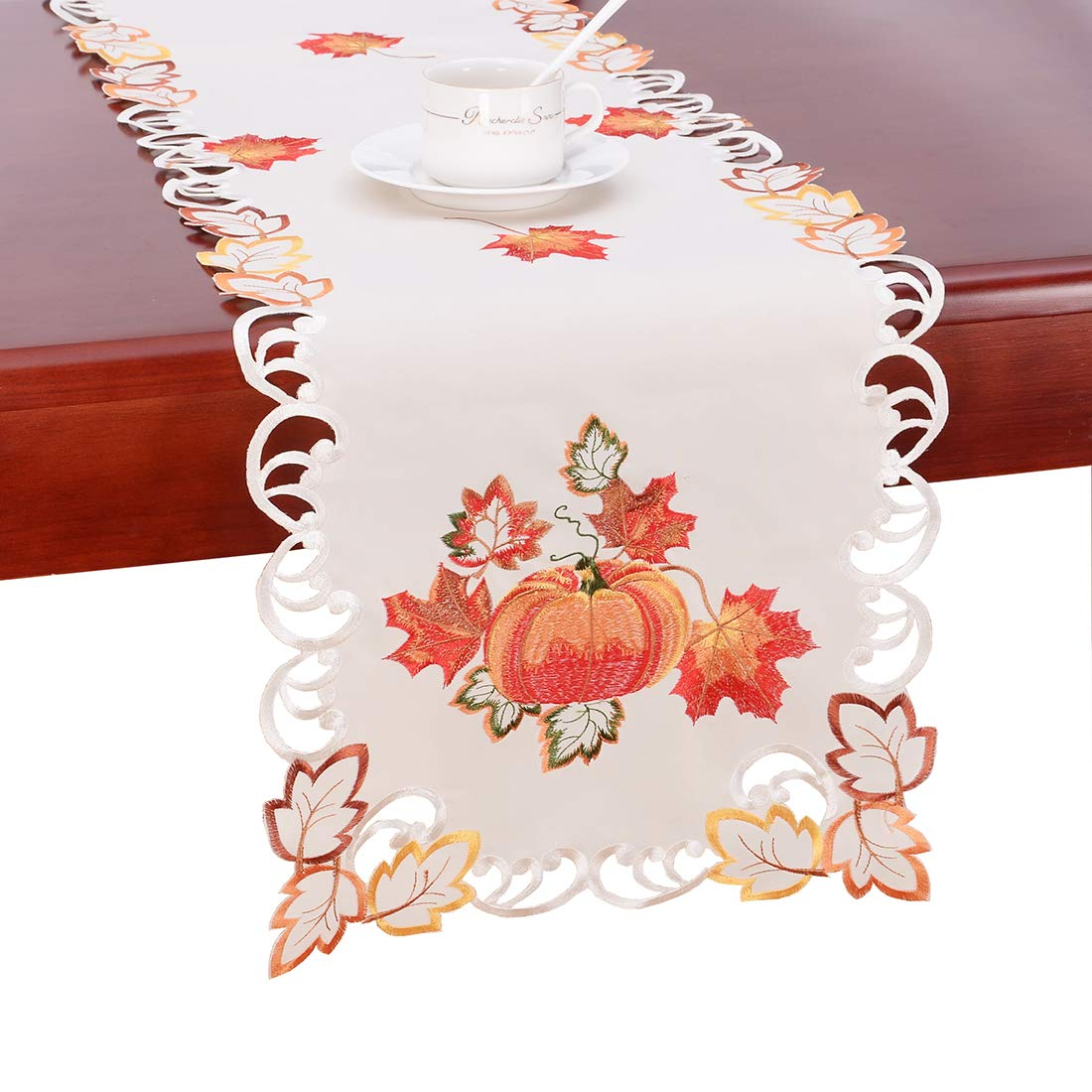 Simhomsen Thanksgiving Harvest Pumpkins Table Runners for Autumn Or Fall Decorations (14 × 90 Inch)