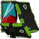 Fone-Case Green Vodafone Smart Prime 6 Hülle Abdeckung Cover Case schutzhülle Tasche Stoßdämpfender Dual Layer-Abdeckung mit Standkonsole Option darunter 1 Displayschutzfolie und ein Farbunterlegte Aluminium Einstellbare Pen