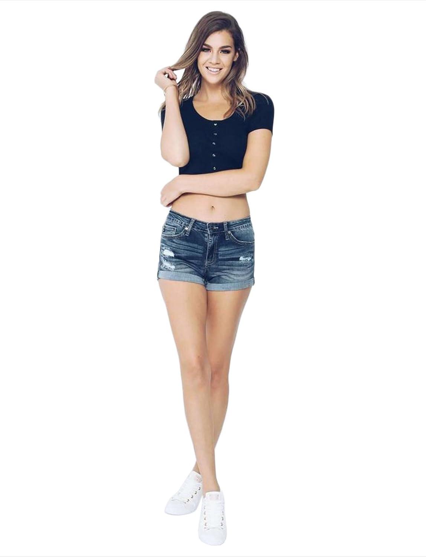 Kancan Mid Rise Distressed Jean Shorts Featuring Folded Hem