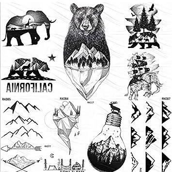 Tatuajes Temporales Niños Dinosaurios Lindo Negro Montaña Oso ...