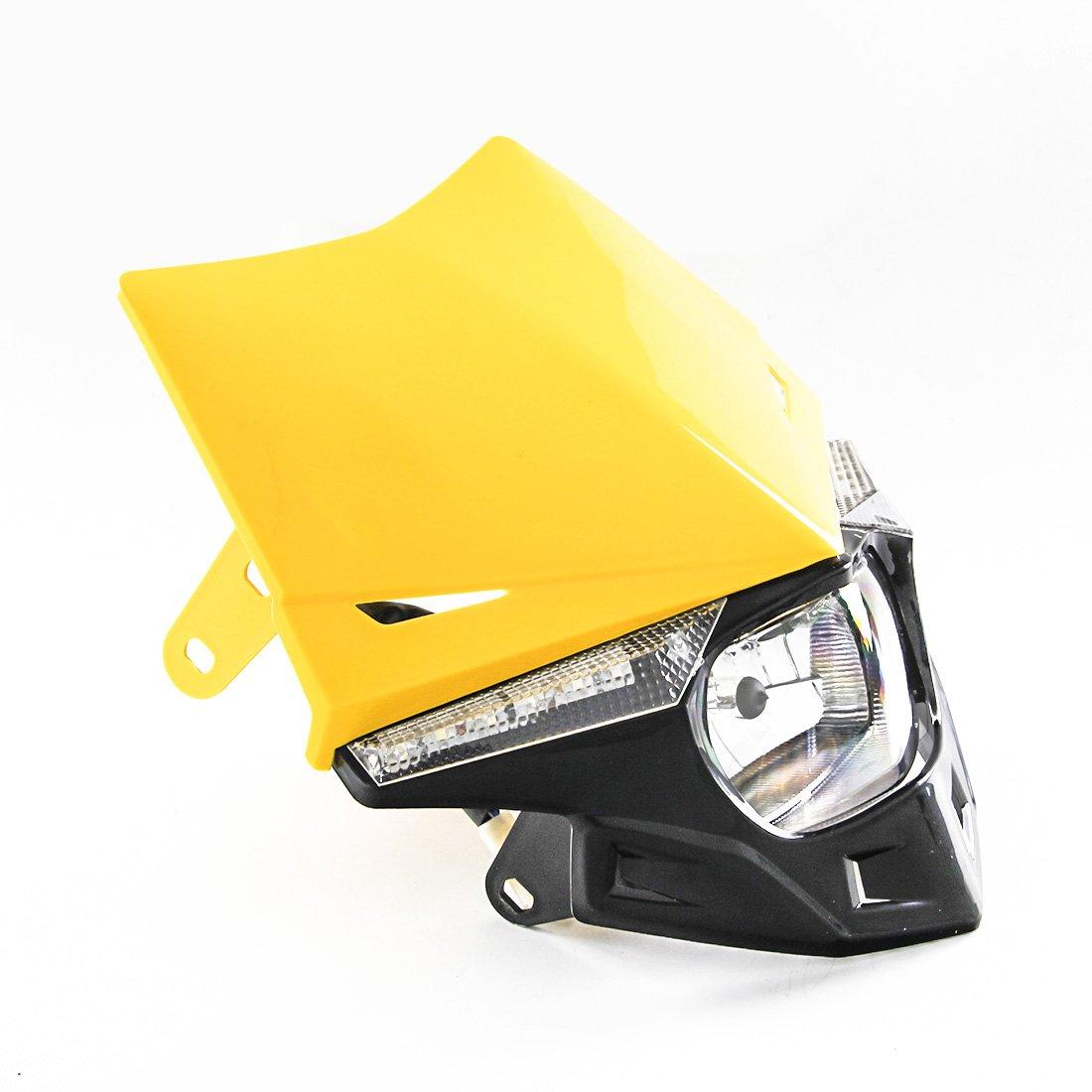 Universale moto fari a LED accensione luce motocross Enduro Dirt Pit Bike faro per Honda CR125 150 CR250 CRF250 CRF450 CR500 XR250 arancione