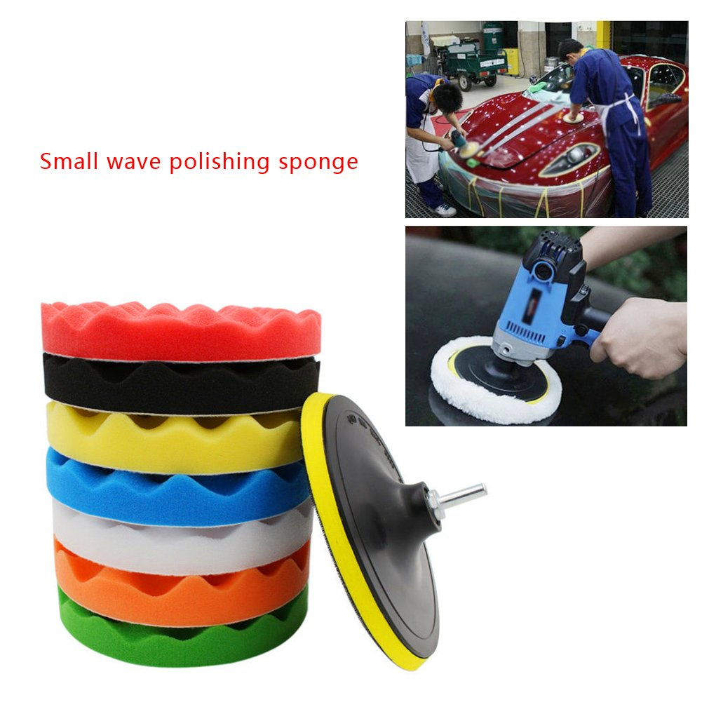 Qillu 10 Pcs Sponge Polishing Buffing Waxing Pad Kit for Car Polisher Buffer With Drill Adapter (6inch) by Qiilu (Image #3)