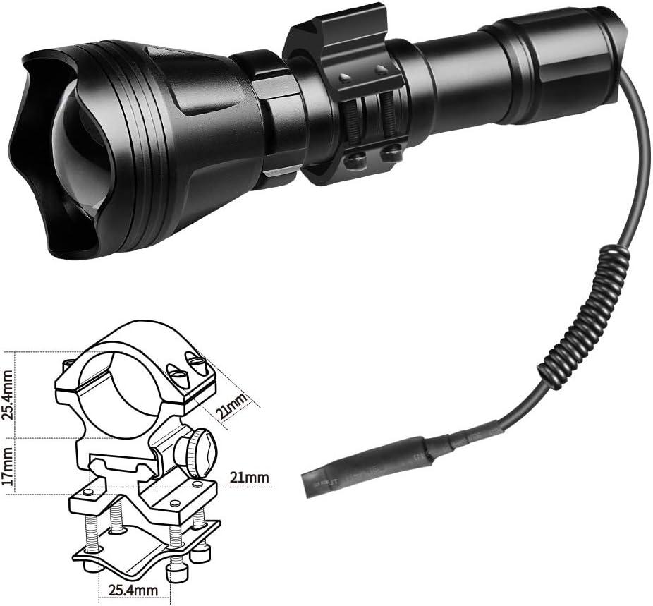 Gr/ün Odepro KL52 Plus zoombare LED Taschenlampe mit Rot IR850 Infrarot und weissem Licht und Kabelschalter