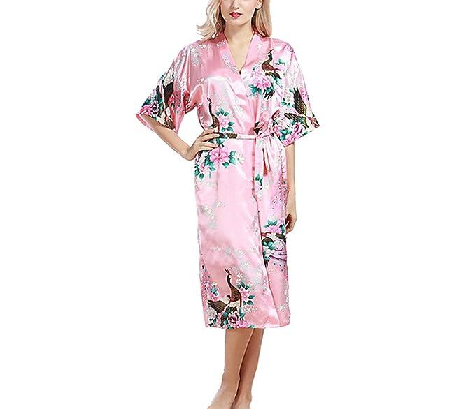 TT Global Mujer Vestido Kimono Pijamas Satén Pijama Albonoz 3/4 Manga Elegante Cómoda Camisón
