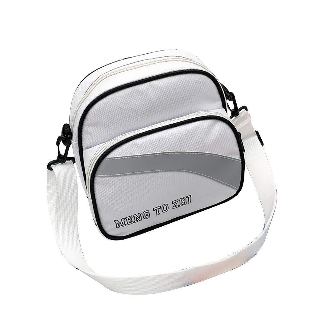 Women Canvas Versatile Reflective Strip Messenger Bag Shoulder Bag Fashion Bag