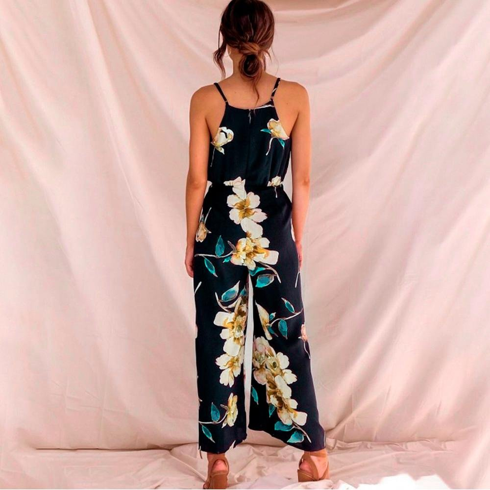 Longay Women V Neck Spaghetti Strap Drawstring Flowers Romper Jumpsuit Dress Summer Vintage Long Dress