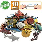 Zoo World Ocean Sea Animal,18 Pack Rubber Bath Toy Set,Food Grade Material TPR Super Stretchy, Some Kinds Can Change Colour, Squishy Floating Bathtub Toy Figure Party,Realistic Shark Octopus Fish