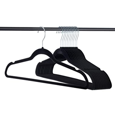 Home-It Premium Velvet Hangers Heavy duty Clothes Hook Swivel 360-Ultra Thin, 50 pack, Non Slip Black Suit, 50 pack