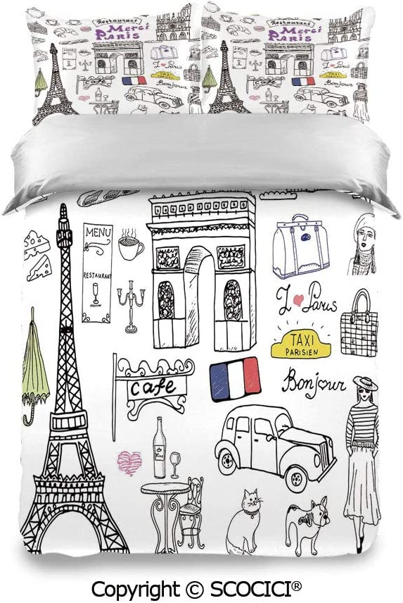 SCOCICI Bedding Set Pillowcase and Sheet Paris Culture in Doodle Style Drawing Eiffel Tower Beret Croissant Blue Cheese Taxi Fashion Designs Warm, Cozy, Lightweight, Luxury Winter Bed Sheets