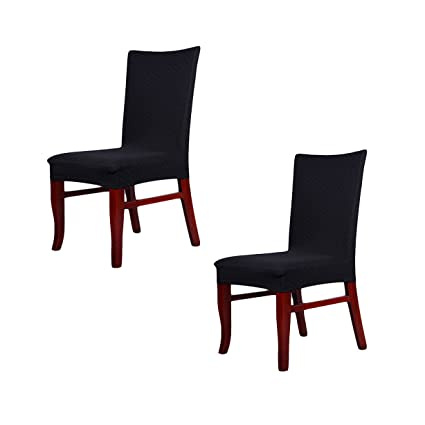 Genial 2 X Short Thick Twill Stretch Dining Room Chair Covers Protector, Banquet  Chair Seat Slipcover