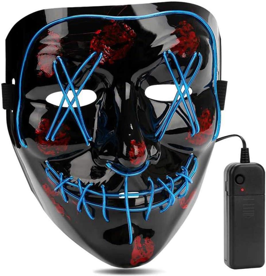 AIWOGEP Halloween LED Máscaras,Mascaras de Halloween,Craneo Esqueleto Mascaras,para la Navidad Halloween Cosplay Grimace Festival Party Show, Fiesta de Musica,Mascarada (Azul)