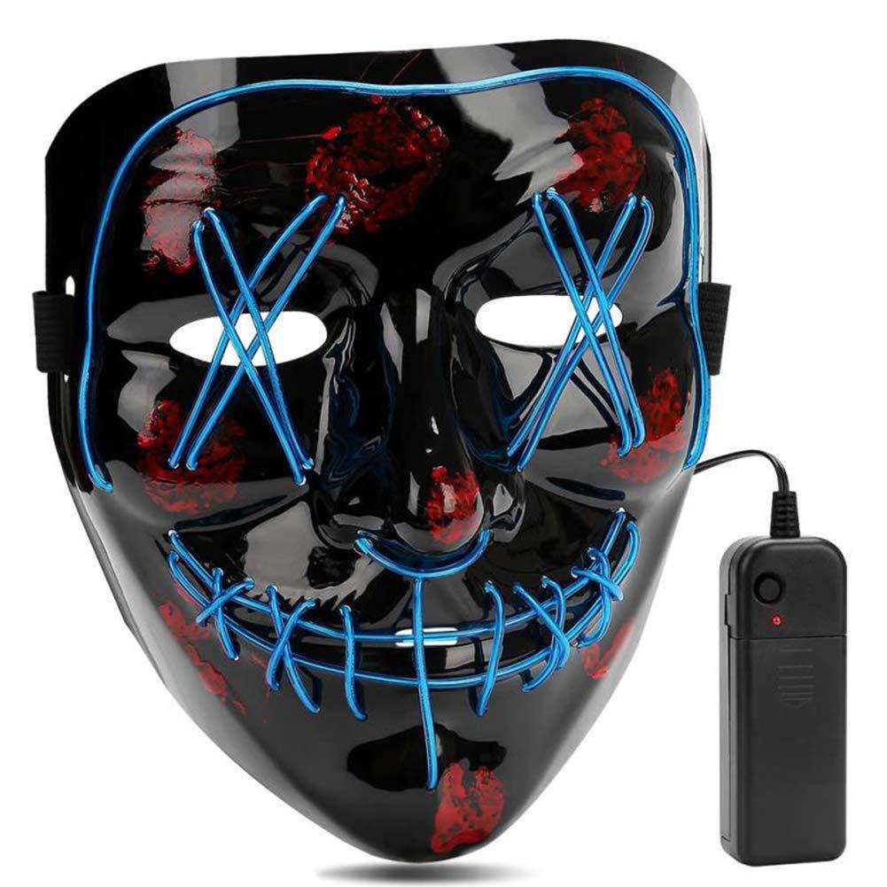 AIWOGEP Halloween Mask LED Light Up Mask for Festival Cosplay Halloween Costume Blue by AIWOGEP
