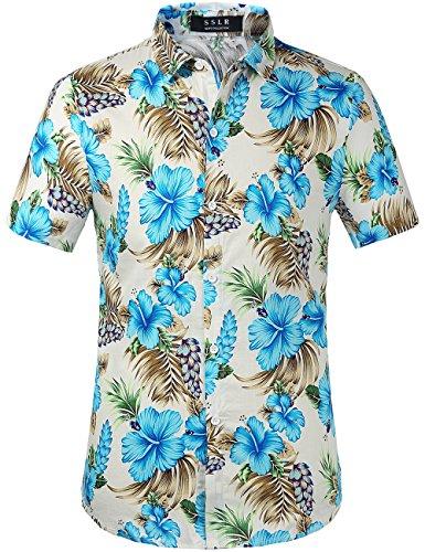- SSLR Men's Flower Casual Button Down Short Sleeve Shirt (Medium, Blue Hibiscus)