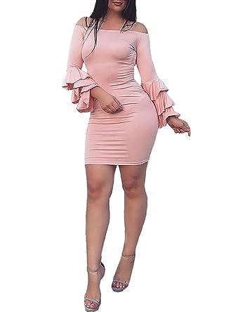 1871ae27894e Boutiquefeel Damen Schulterfreies Layered Ärmel Bodycon Kleid Rosa S