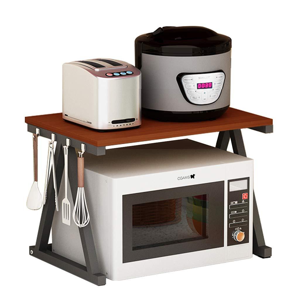 Haotrend Microwave Shelf, Microwave Stand Kitchen Counter Shelf Organizer, Spicy Shelf Rack Toaster Organizer, Microwave Oven Rack, 2 Tiers with Hooks (Brown Board + Black Metal Frame)