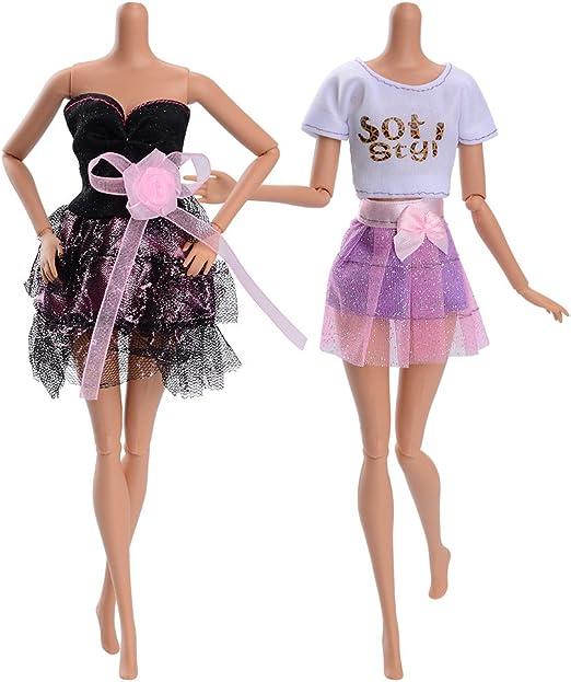 2 St/ück Puppe Weihnachten Kleidung Bekleidungs und Zubeh/örset f/ür Puppe F/ür 18 Zoll American Doll Barbiekleider Set