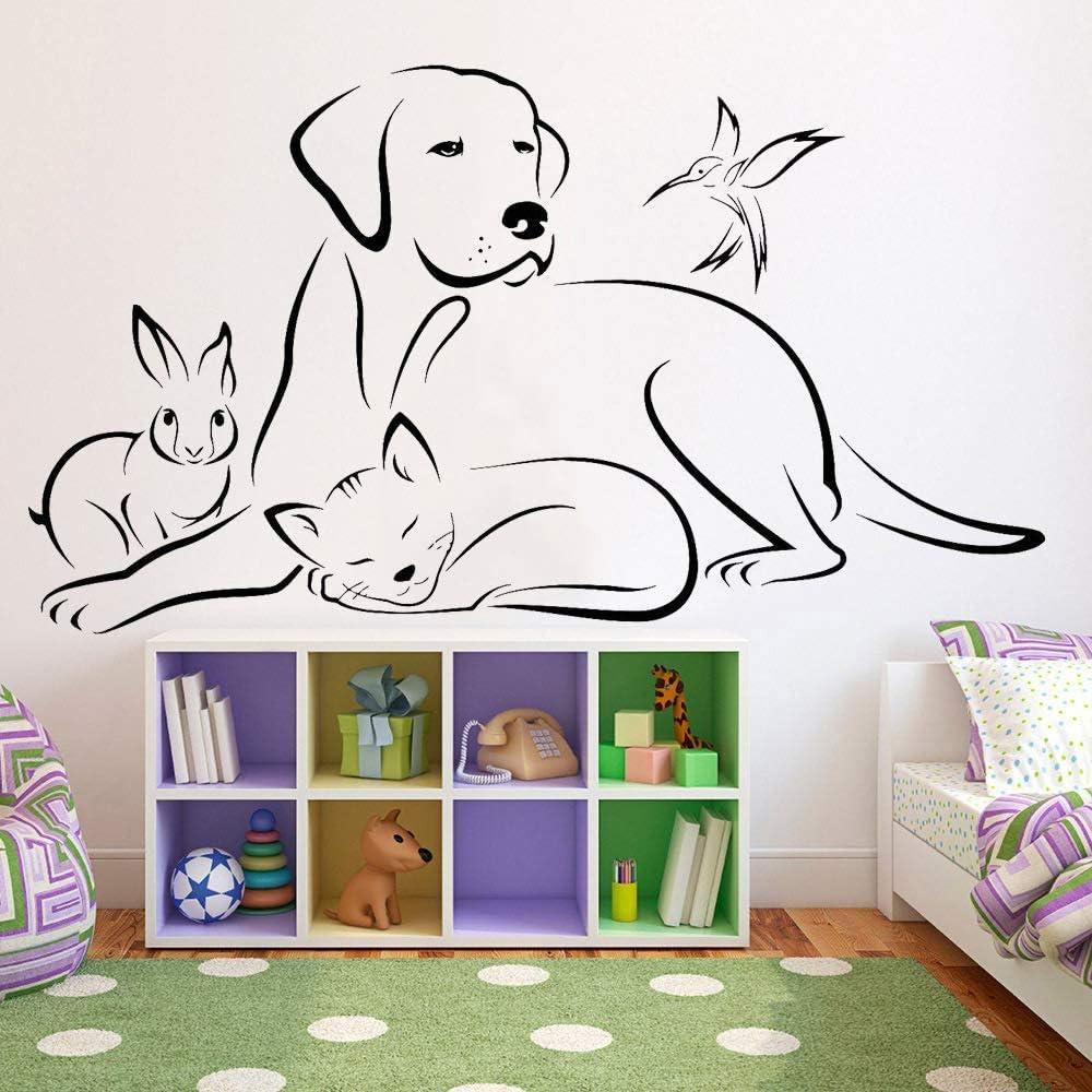 Vinilo Animales Tatuajes de pared Sala de estar Pegatinas de pared Medicina veterinaria Mascota Perro Gato Pájaro Tienda Decoración moderna para el hogar 57x100cm