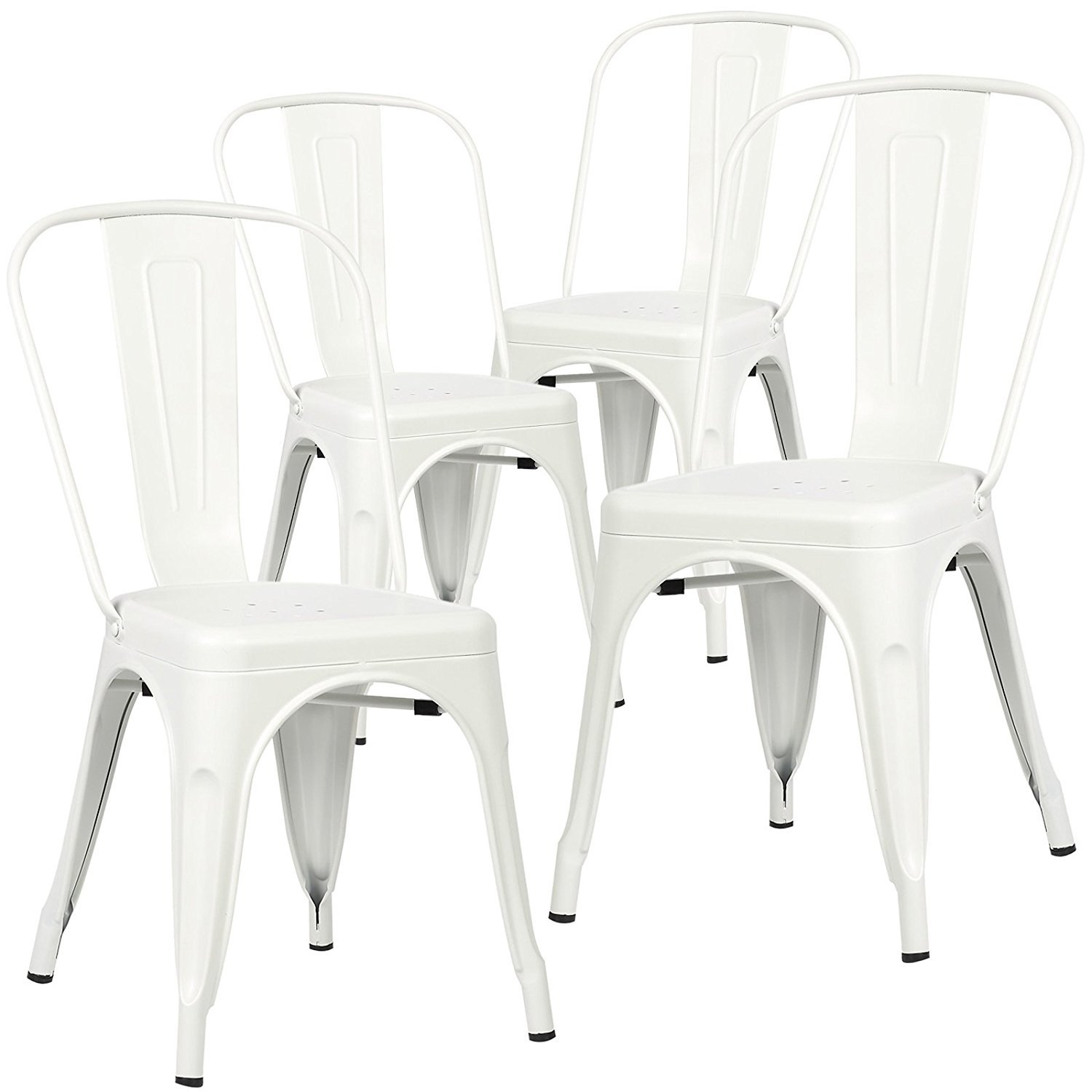 Polar Aurora Set of 4 Tolix Style Dining Side Chair Stackable Bistro Cafe Metal Vintage White