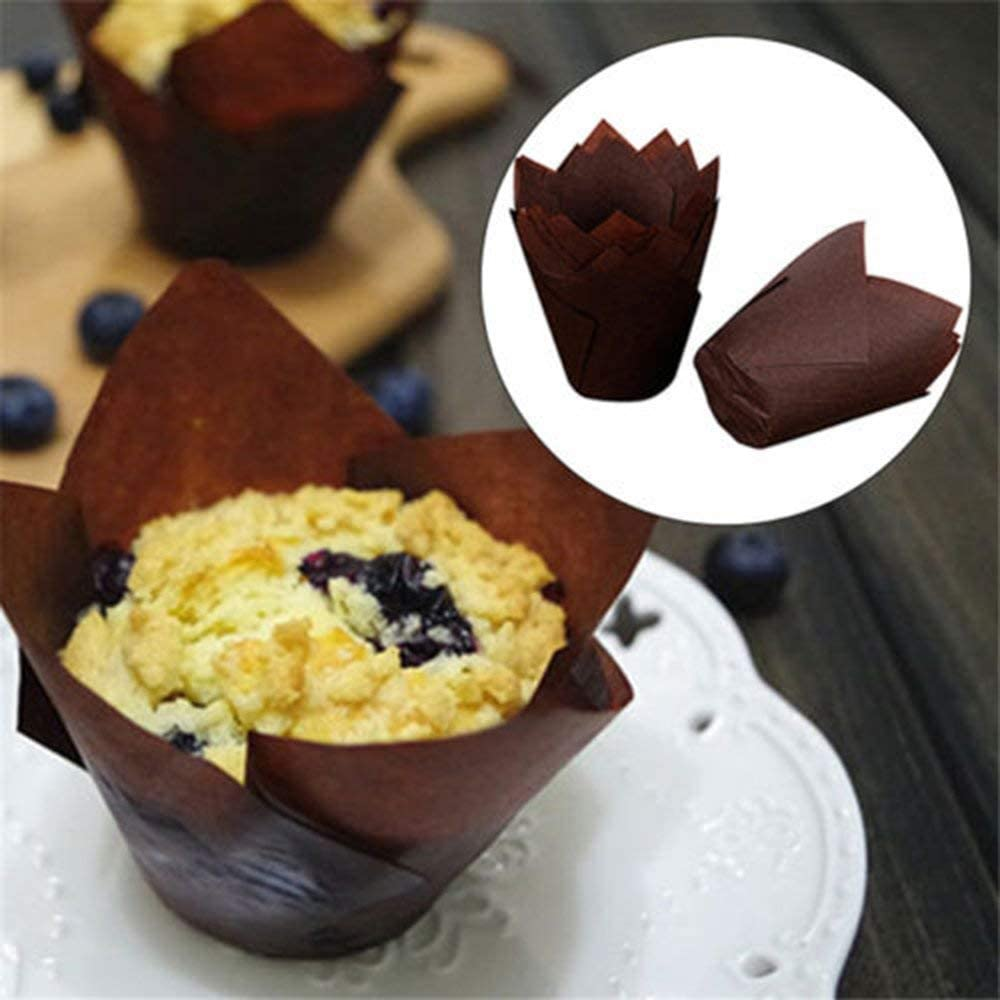 Tulip Cupcake Liners Baby Showers 100 Pieces Baking Paper Cups Cupcake Muffin Liners Wrappers Birthdays Baking Cups Muffin Tins Treat Cups for Weddings Brown, Natural 2.5inch