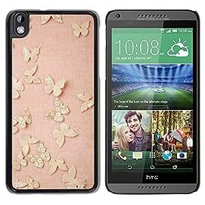 FECELL CITY // Duro Aluminio Pegatina PC Caso decorativo Funda Carcasa de Protección para HTC DESIRE 816 // Butterfly Gold Bling Spring Peach Pink