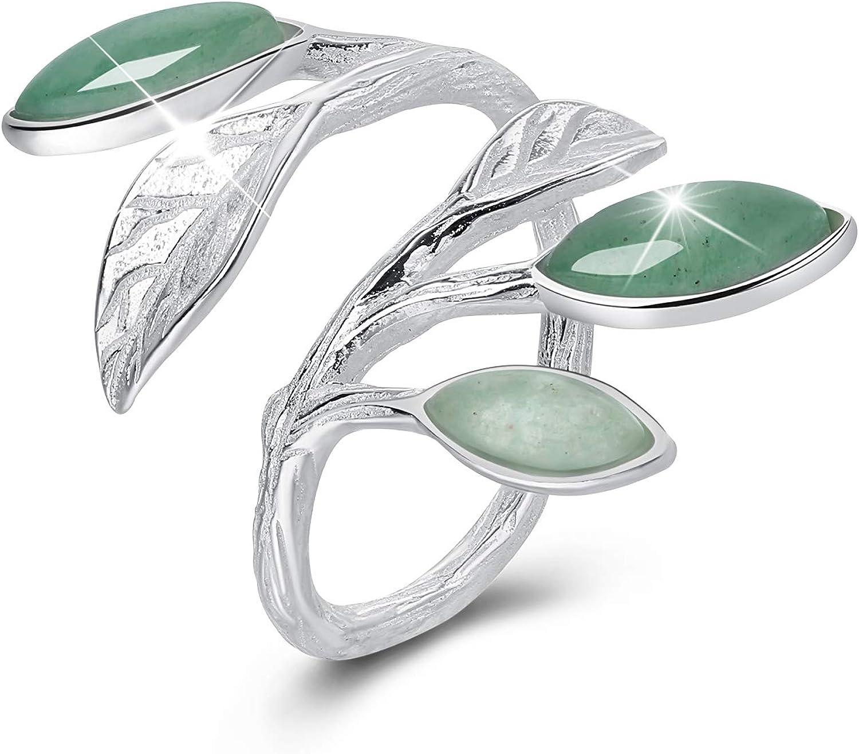 Lotus Fun - Regalos para Navidades - Anillos de plata de ley 925, diseño de hojas abiertas, hecho a mano, regalo único para mujeres y niñas