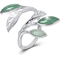 Lotus Fun S925 Sterling Silver Rings Spring in The Air Leaves Open Ring Handmade Jewelry Unique Gift for Women and Girls