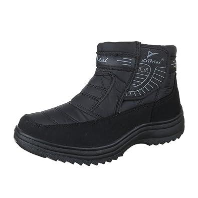 new concept 8b461 b0817 Ital-Design Winter-/Schneestiefel Herren Schuhe Warm Gefütterte  Klettverschluss Stiefel