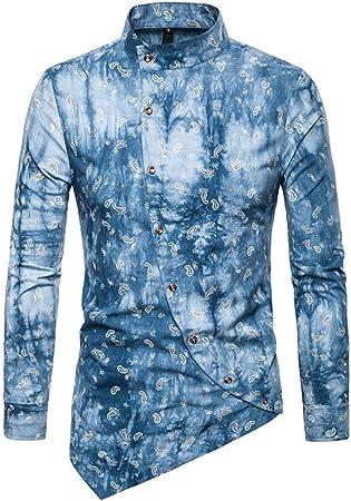 Fanuosums Camisas para Hombre Regular Fit, Camisa de Manga Larga de Manga Larga Irregular Irregular Hombres (Color : Marrón Claro, tamaño : XL): Amazon.es: Hogar