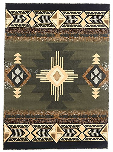 Rugs 4 Less Collection Southwest Native American Indian Area Rug Design R4L 318 Olive Green, Sage Green ()