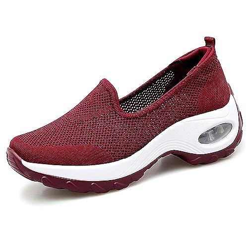 ecd5cfce48615 HopCon Women's Flyknit Mesh Walking Sneakers Comfort Breathable Wedge  Platform Loafers Casual Non-Slip Nurse Shoes