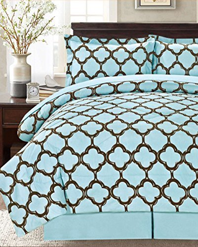 Livingston Home Supper Soft 8 Pieces Bed in a Bag Fretwork Comforter Set, Blue/Brown,Queen,