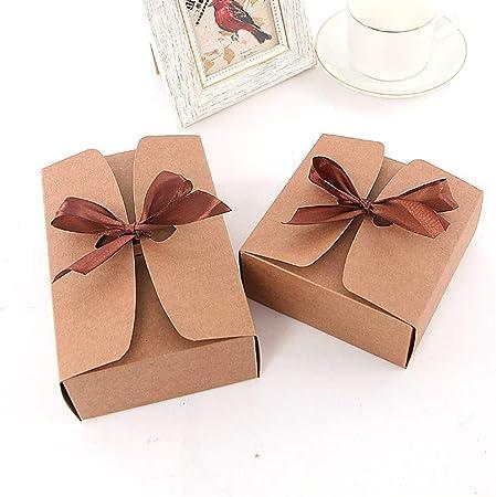 Caja de Regalo Caja de Papel Kraft de Encargo rectangulares Calcetines Pajarita de Regalos empresariales Cuadro de la Ropa Interior de la caja-10pcs (Color : Kraft Paper, Size : 14x14x5cm): Amazon.es: Hogar