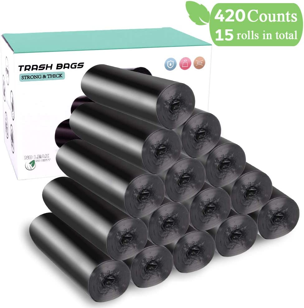 4 Gallon Trash Bags, 420 Counts 15 Rolls Small Trash Bags, 15-liters Strong Rubbish Bags Black Garbage Bags for Home/kitchen/Bathroom/Bedroom/Office/Car/Pet