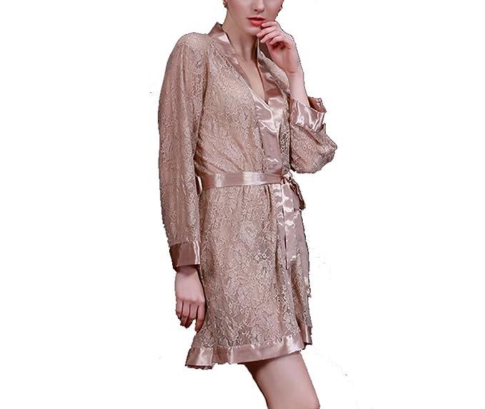 TT Global Moda Mujers Cordón Kimono Camisa de señora Ropa de Dormir Hora de acostarse Pijama, Lencería Kimono Cordón Batas Camisón Dormir Transparente Malla ...