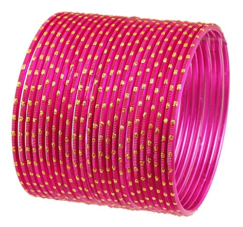 Touchstone New Colorful 2 Dozen Bangle Collection Indian Bollywood Alloy Metal Textured Pretty Fuchsia Color Jewelry Special Large Size Bangle Bracelets Set of 24 in Antique Gold Tone for Women