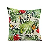 Pgojuni Flowers Grass Pattern Cushion Cover Throw Pillow Cover Accent Cushion Cover Square Pillow Case for Sofa/Car/Bed Home Decor 1pc (B)