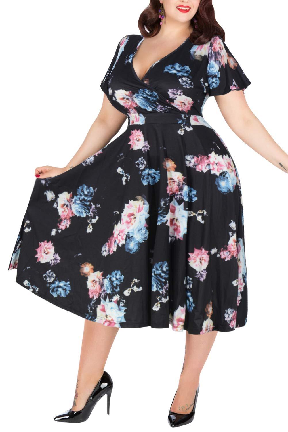 Nemidor Women's V-Neckline Stretchy Casual Midi Plus Size Bridesmaid Dress (20W, Black+Rose)