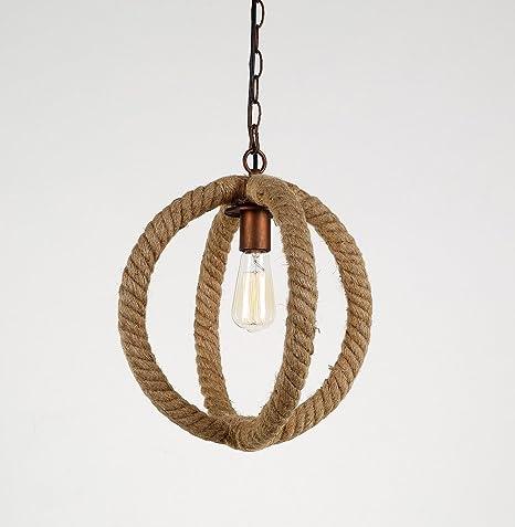 Ceiling Lamp Vintage Retro Coffeehouse Hanging Lamps Hemp Rope ...