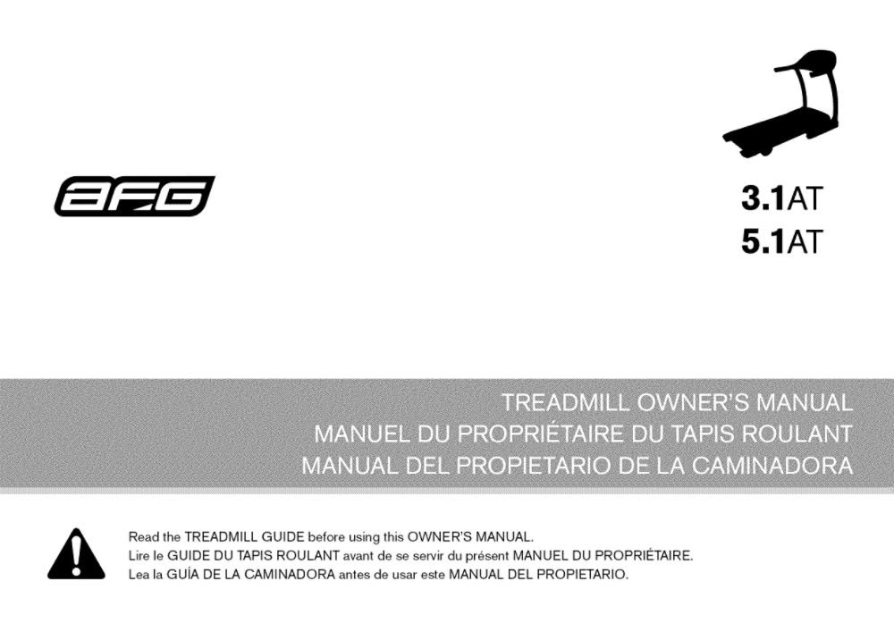 Afg 1000219961 Treadmill Owner's Manual Genuine Original Equipment Manufacturer (OEM) Part for Afg by Afg