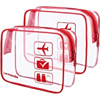 2-Pack Lermende Clear Toiletry Airport Airline Compliant Bag (Red)